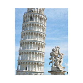 Toile Statue de Putti de dei de Fontana de tour penchée