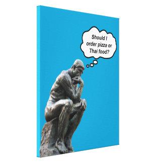 Toile Statue drôle de penseur de Rodin - pizza ou
