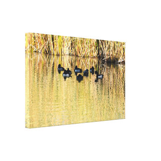 Toile Sur l'étang d'or de canard