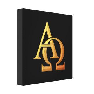 """Toile Symbole """"à trois dimensions"""" d'or alpha et d'Omega"""