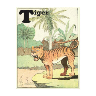 Toile Tigre dans un alphabet tropical de jungle