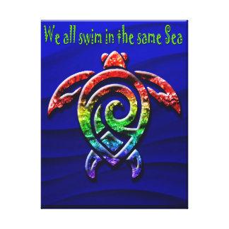 Toile Tortue de mer colorée
