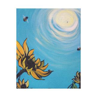 Toile Tournesols et copie d'abeilles