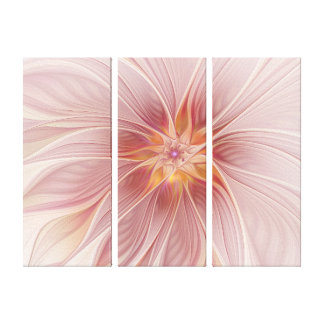 Toile Triptyque moderne d'abrégé sur floral rose mol