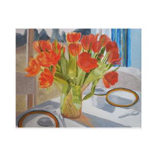 Toile Tulipes sur la table de salle à manger