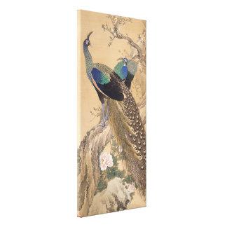 Toile Une paire de paons au printemps par Imao Keinen