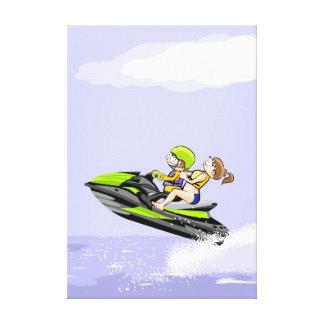 Toile Une paire sale à toute vitesse dans son jet ski
