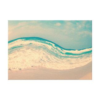 Toile Vague vintage surréaliste de plage dans des