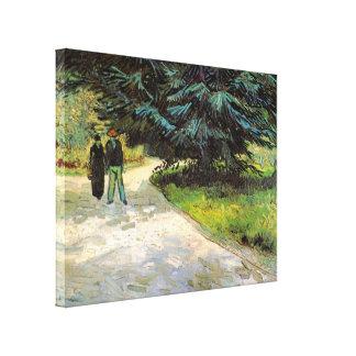 Toile Van Gogh ; Couples du jardin public W et arbre de