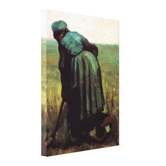 Toile Van Gogh, femme rurale creusant, agriculteur