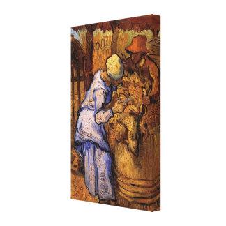 Toile Van Gogh ; Haveuses de moutons, impressionisme