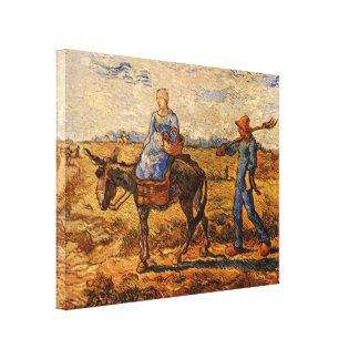 Toile Van Gogh ; Matin : Couples ruraux allant