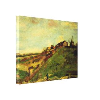 Toile Van Gogh Montmartre : Carrière, les moulins,