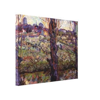 Toile Verger de Van Gogh dans la fleur avec la vue