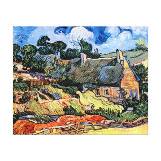 Toile Vincent van Gogh - cottages couverts de chaume