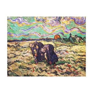 Toile Vincent van Gogh - deux femmes rurales -