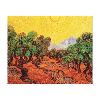 Toile Vincent van Gogh - oliviers avec le ciel jaune