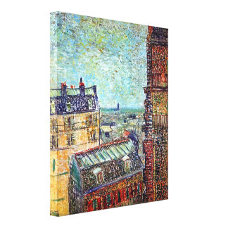 Toile Vincent van Gogh - vue d'art de Pointillism de