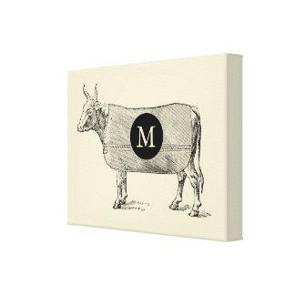 Toile VINTAGE de monogramme de vache à Toiles