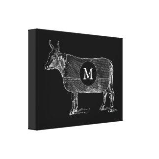 Toile VINTAGE de noir de monogramme de vache à Toiles