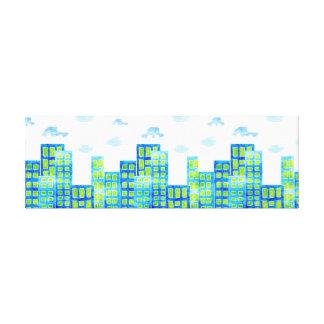 Toile Voitures dans le paysage urbain urbain de nuages