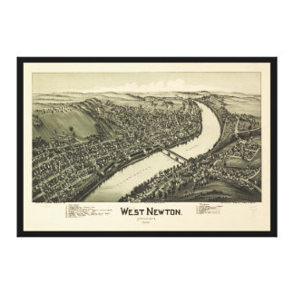 Toile Vue aérienne de Newton occidental, Pennsylvanie