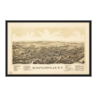 Toile Vue aérienne de Schuylerville, New York (1889)