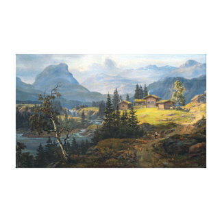 Toile Vue de Johan Christian Dahl de ferme de Øylo,