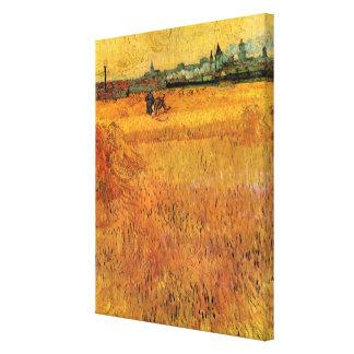 Toile Vue de Van Gogh des champs de blé dans Arles,