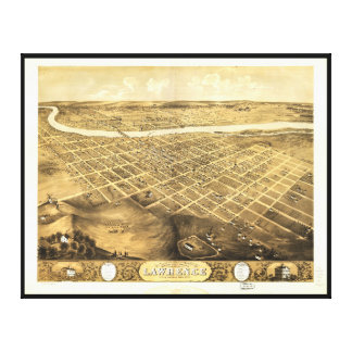 Toile Vue d'oeil d'oiseau de Lawrence, le Kansas (1869)