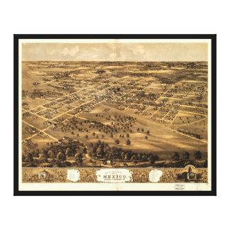 Toile Vue d'oeil d'oiseau du Mexique, Missouri (1869)
