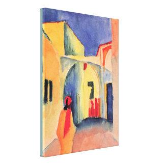 Toile Vue vintage d'August Macke dans une ruelle
