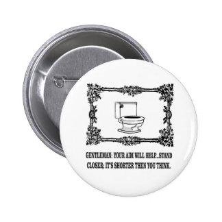 toilette masculine fleurie de plaisanterie badge rond 5 cm