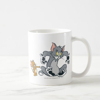 Tom et chat noir de patte de Jerry Mug Blanc