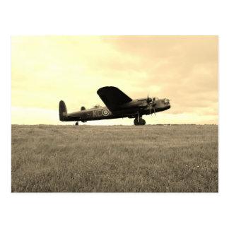 Ton de sépia de bombardier de Lancaster Carte Postale