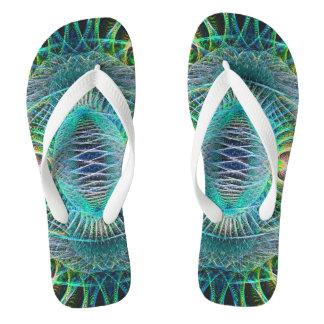 Tongs Art impressionnant de fractale de turquoise
