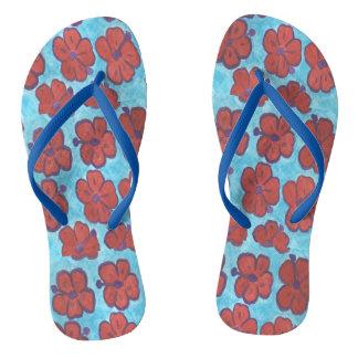 Tongs Bascules bleues et rouges de ketmie