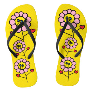 Tongs Bascules électroniques jaunes lumineuses de fleurs