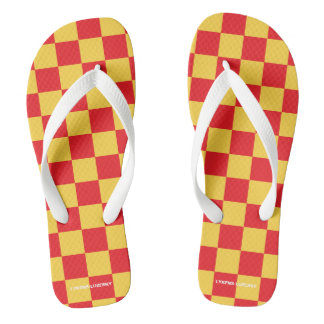 Tongs checkered rouge et jaune