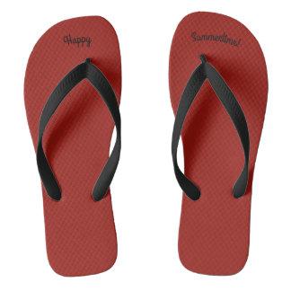 Tongs Courroie noire large solide du rouge W d'été