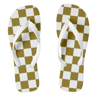Tongs Damier d'or d'orme modelé