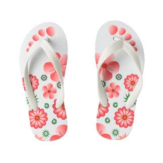 Tongs Enfants L'orteil tropical floral rose de fleurs marque des