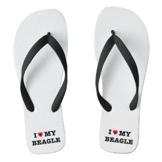 Tongs I coeur mes bascules électroniques de beagle