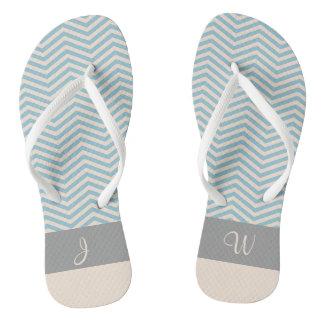 Tongs Monogramme gris 2 de motif bleu et beige de