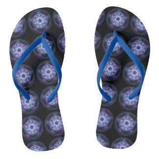 Tongs Motif bleu de pentagone étoilé du feu de