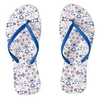 Tongs Motif floral bleu