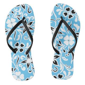 Tongs Motif floral de noir et blanc bleu