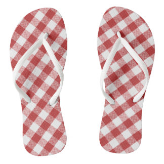 Tongs Plaid rouge