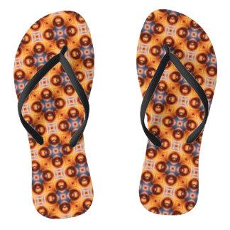 Tongs Rétro motif de mosaïque de gradient orange