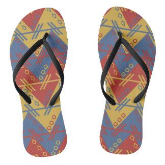Tongs Rétro motif géométrique des années 60 vibrantes